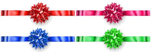 Zestaw kolorowych kokardek z błyszczącej wstążki z cieniami na białym tle, ułożonych poziomo