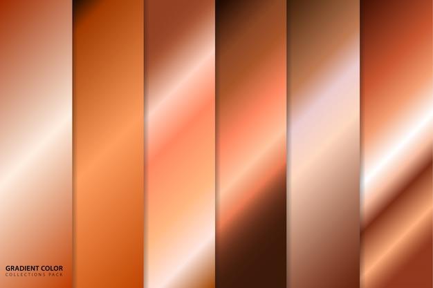 Zestaw kolorowych kolekcji gradientów w kolorze różowego złota