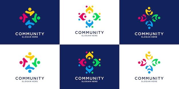 Zestaw kolorowych kolekcji logo jedności ludzi razem rodziny ludzi.