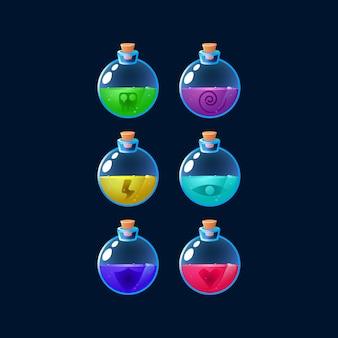 Zestaw kolorowych, kolorowych butelek z eliksirami, które zwiększają moc elementów gui