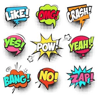 Zestaw kolorowych komiksów mowy