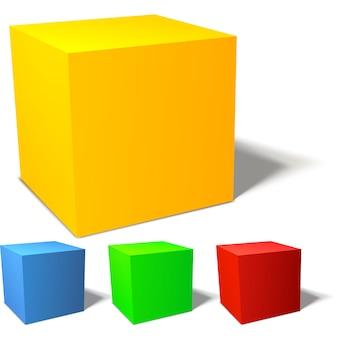 Zestaw kolorowych kostek 3d