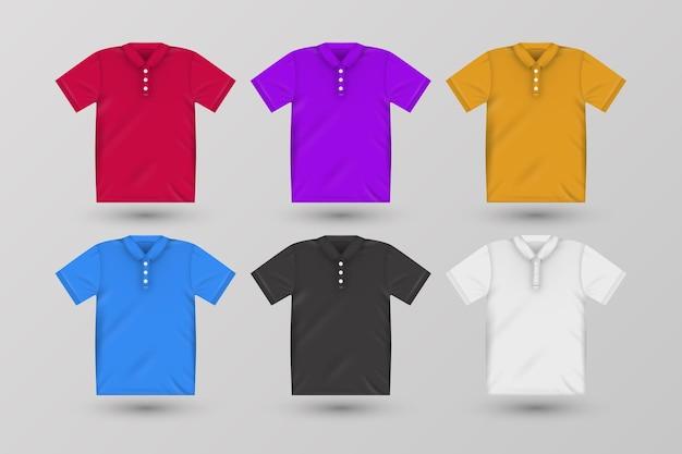 Zestaw kolorowych koszulek polo z cieniami