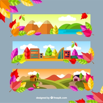 Zestaw kolorowych krajobrazów