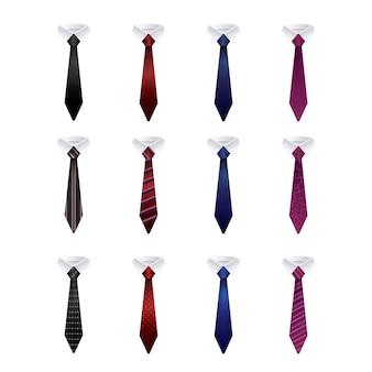 Zestaw kolorowych krawatów na białym tle