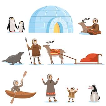 Zestaw kolorowych kreskówek szczegółowe ilustracje wektorowe na białym tle