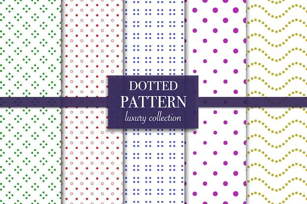 Zestaw kolorowych kropkowanych wzorów. styl kropki.