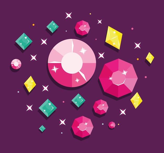 Zestaw kolorowych kryształów