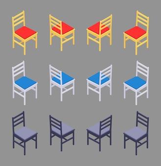 Zestaw kolorowych krzeseł izometrycznych