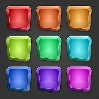Zestaw kolorowych kwadratów z kreskówkowymi błyszczącymi przyciskami z tłoczonymi wersjami.