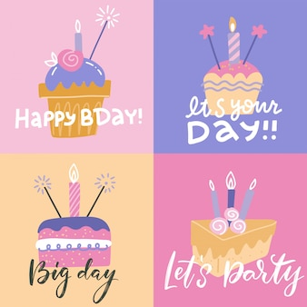 Zestaw kolorowych kwadratowych kart okolicznościowych birthdat. wszystkiego najlepszego szablon posrcards z różnymi różowymi ciastkami ze świecami i tekstem. projekt karty w stylu płaski