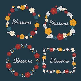 Zestaw kolorowych kwiatów