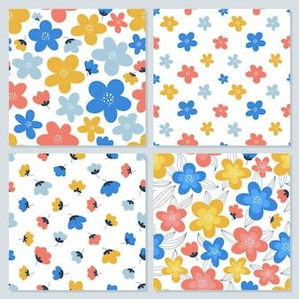Zestaw kolorowych kwiatowych wzorów bez szwu do nadruku na tkaninie, papierze pakowym, okładkach itp.