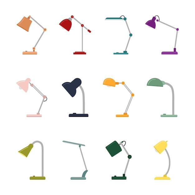 Zestaw kolorowych lamp biurkowych na białym tle, ilustracji wektorowych