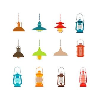 Zestaw kolorowych lamp.