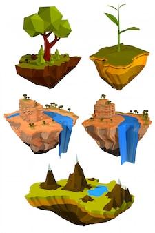 Zestaw kolorowych latających wysp z drzewami, górami i wodospadami.