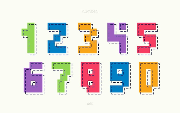 Zestaw kolorowych liczb geometrycznych