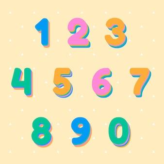Zestaw kolorowych liczb