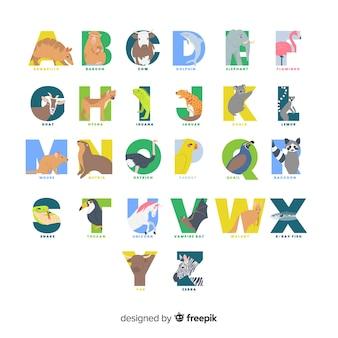 Zestaw kolorowych liter zwierząt