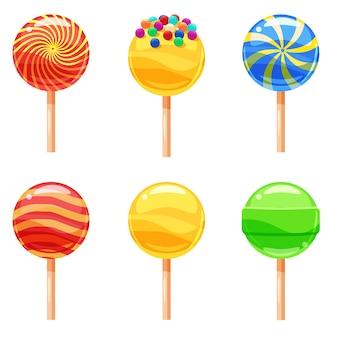 Zestaw kolorowych lizaków, słodkich cukierków