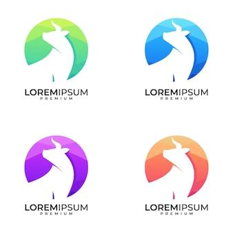 Zestaw kolorowych logo byka