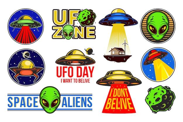 Zestaw kolorowych logo ufo.