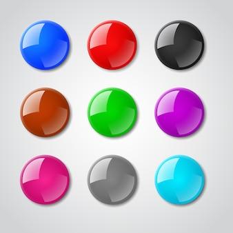 Zestaw kolorowych magnesów.