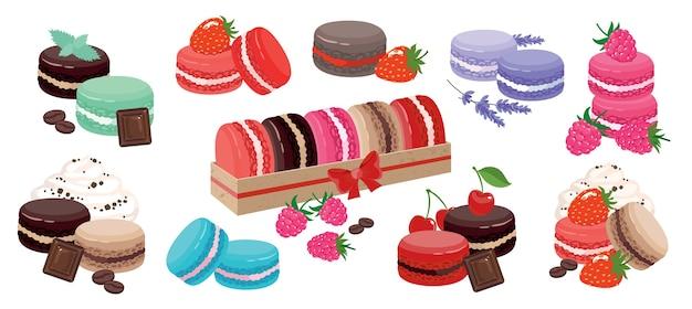 Zestaw kolorowych makaroników: jagoda, czekolada, lawenda, mięta, w ozdobnym pudełku.