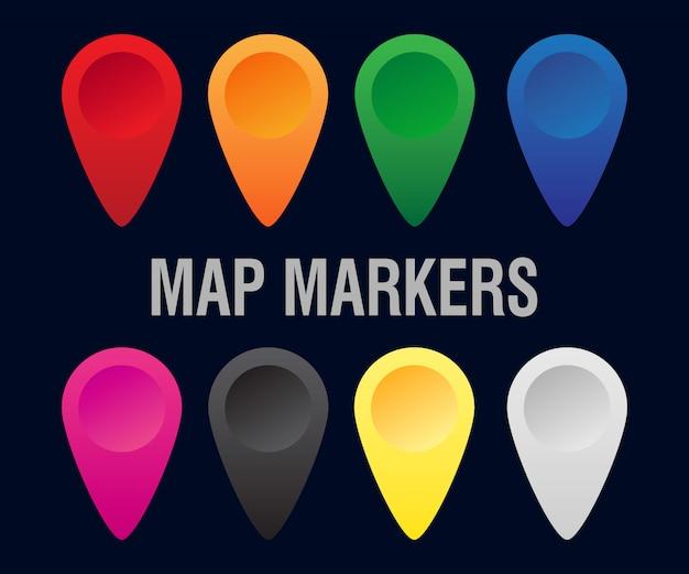 Zestaw kolorowych markerów na mapie.