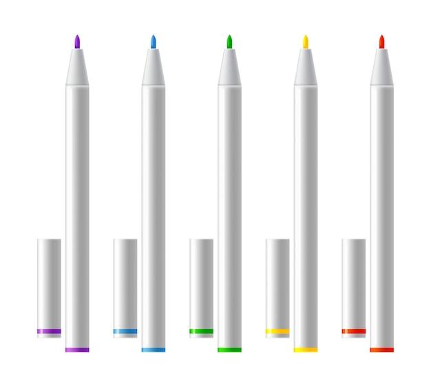 Zestaw kolorowych markerów.