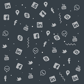 Zestaw kolorowych mediów społecznych doodle projekt tekstura