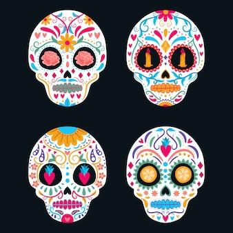 Zestaw kolorowych meksykańskich czaszek. dzień zmarłych, dia de los muertos