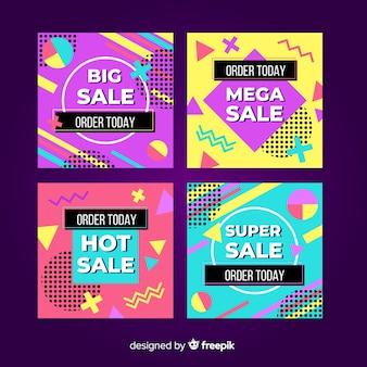 Zestaw kolorowych memphis w stylu bannera sprzedażowego