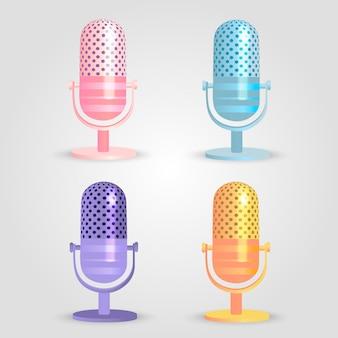 Zestaw kolorowych mikrofonów vintage.