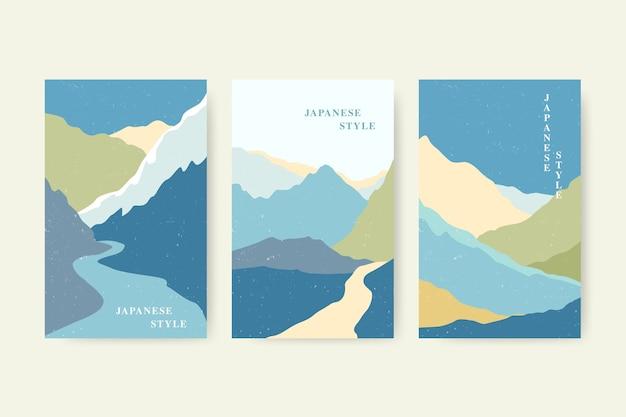 Zestaw kolorowych minimalistycznych japońskich okładek
