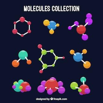 Zestaw kolorowych molekuł