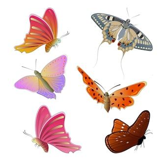 Zestaw kolorowych motyli na białym tle na białym tle. latające motyle. wielokolorowe motyle z pięknymi wzorami na skrzydłach. wektor eps10.