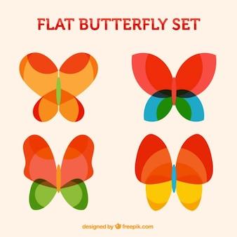 Zestaw kolorowych motyli w stylu abstrakcyjna