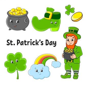 Zestaw kolorowych naklejek dla dzieci. krasnoludek z garnkiem złota, butem, złotą monetą, koniczyną, magiczną tęczą. dzień świętego patryka.