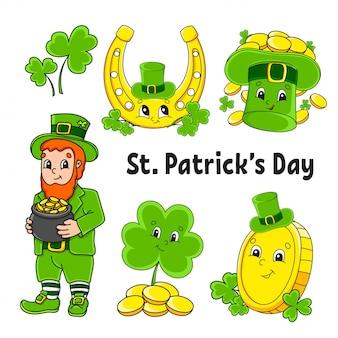 Zestaw kolorowych naklejek dla dzieci. krasnoludek z garnkiem złota, złotej monety, zielonej koniczyny, kapeluszem, złotą podkową. dzień świętego patryka.