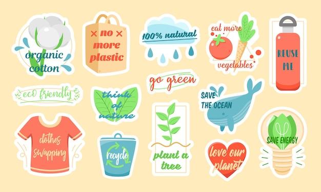 Zestaw kolorowych naklejek wektorowych przedstawiających różne symbole ekologiczne z napisami o ochronie środowiska, zaprojektowanych w ramach kampanii proekologicznej