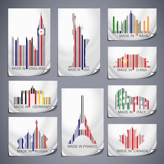 Zestaw kolorowych naklejek z kodami kreskowymi wyprodukowanych w kraju