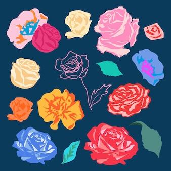 Zestaw kolorowych naklejek z różami