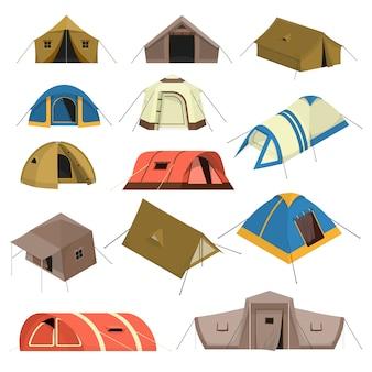 Zestaw kolorowych namiotów turystycznych