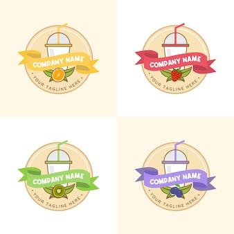 Zestaw kolorowych napojów juice drink z różnymi szablonami logo owoców w jasnożółtym tle