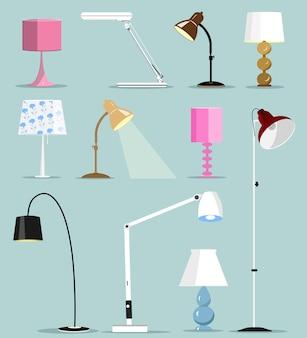 Zestaw kolorowych nowoczesnych lamp. ilustracja.