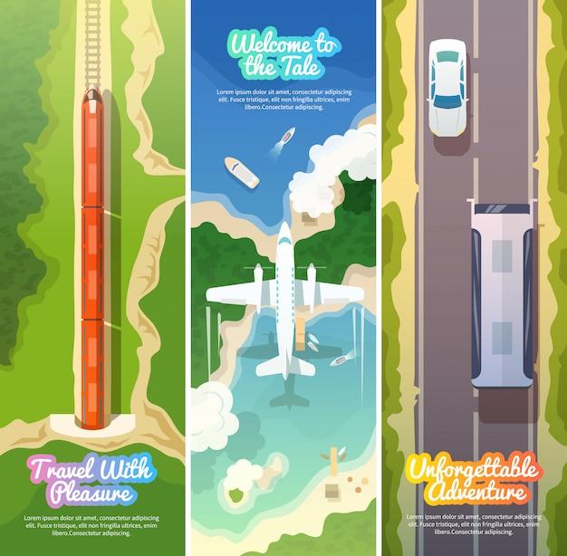 Zestaw kolorowych nowoczesnych płaskich banerów. ilustracje, elementy i koncepcja projektowania jakości. latający samolot pociąg. autobus. banery pionowe.