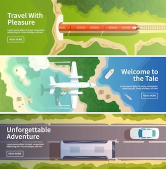 Zestaw kolorowych nowoczesnych płaskich banerów. ilustracje, elementy i koncepcja projektowania jakości. latający samolot pociąg. autobus. banery poziome.