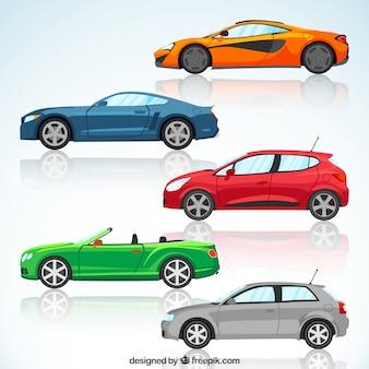 Zestaw kolorowych nowoczesnych samochodach