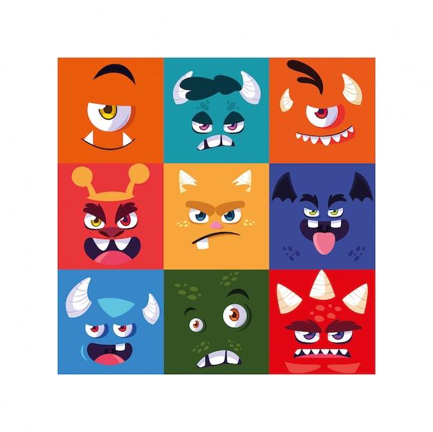 Zestaw kolorowych obcych potworów